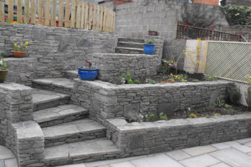 Retaining walls and stone steps in Newbridge
