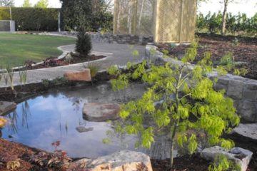 Water feature and stone walls in Ardclough.